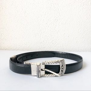 Accessories - Vintage Black Leather and Silver Hardware Belt